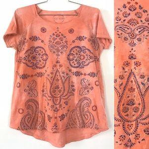 Lucky Brand peach paisley pop over top T-shirt